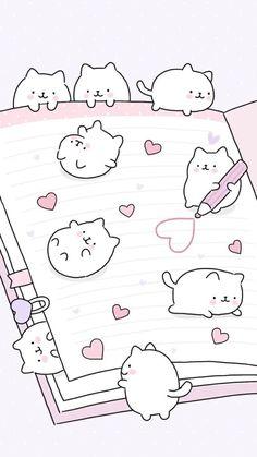 Wallpaper iphone cute doodles 34 Ideas for 2019 Cute Wallpaper Backgrounds, Cute Cartoon Wallpapers, Wallpaper Iphone Cute, Iphone Wallpaper Drawing, Wallpaper Pink Cute, Animal Wallpaper, Diy Kawaii, Kawaii Cat, Kawaii Anime