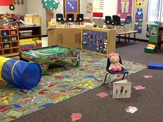 """We read We're Going On A Bear Hunt and then participated in an obstacle course. They had to tell me if they were going """"over, under, or through"""" the obstacle. I used a sleep mat, yarn, box, pool noodle, and tunnel."""