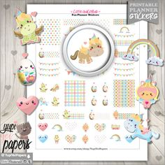 Unicorn Stickers, Planner Stickers, Easter Eggs, Rainbow Stickers, Planner Accessories, Kawaii Stickers, Easter Stickers, Erin Condren