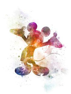 Ilustración de Mickey Mouse arte estampado, Disney, arte de la pared, decoración del hogar