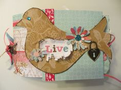 Bird Chipboard and Paper Bag Scrapbook Album...Visit tinytreasuresbyt.blogspot.com to see the inside pages!
