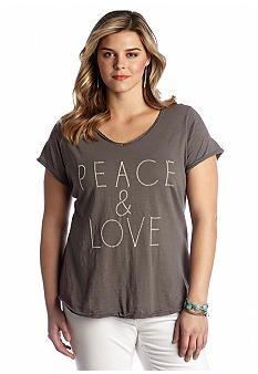 Lucky Brand Plus Size Short Sleeve Peace Tee