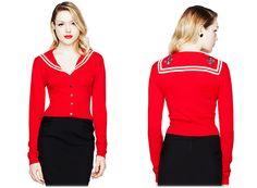 Want! Hell Bunny Red 'Landlubber' Nautical Sailor cardigan