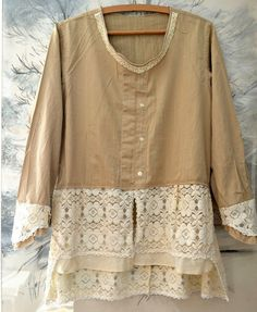 Tunic lace romantic style beige ecru cotton upcycled clothing