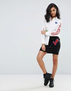 Get this Love Moschino's short skirt now! Click for more details. Worldwide shipping. Love Moschino Sweat Mini Skirt - Black: Mini skirt by Love Moschino, Soft-touch sweat fabric, High-rise drawstring waist, Flocked slogan logo, Regular fit - true to size, Machine wash, 100% Cotton, Our model wears a UK 8/EU 36/US 4 and is 173cm/5'8 tall. A diffusion line of Franco Moschino's iconic Italian design house, Love Moschino creates a playful and irreverent collection injected with a sense of…