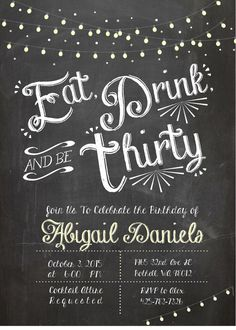 Adult Birthday Invitation, Thirtieth birthday invite, Eat Drink and Be Thirty… More