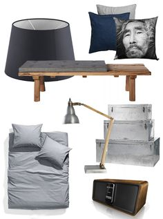 JÄRÄ lamp shade, Ikea / Cotton pillow case, H & M / INUIT print pillow, By Nord / Bench made of recycled planks, Peroba / Grey duvet cover and pillow cases, H & M / BASIC desk lamp, Peroba / Plate chests in three sizes, Peroba / CuboDock iPod docking station, Sonoro.