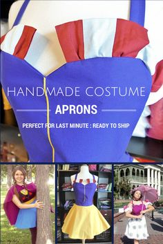 Charming #Disney Inspired Handmade Costume Aprons perfect for last minute - ready to ship! #Halloween #runDisney