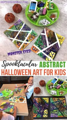 Halloween Art Projects, Halloween Arts And Crafts, Halloween Crafts For Toddlers, Toddler Halloween, Halloween Crafts For Kids, Halloween Fun, Holiday Crafts, Kids Crafts, Abstract Art For Kids