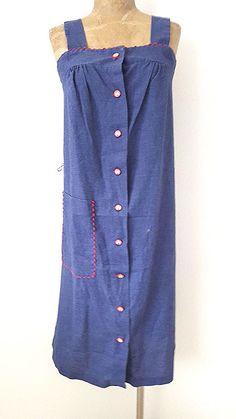 Sundress Dress Size Medium Rockabilly Summer Chambray Vintage 70s Blue #DecaturGarmentCompany #Sundress #SummerBeach