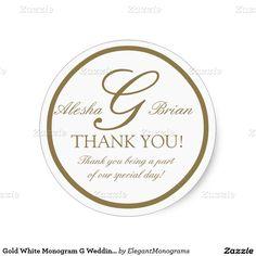 Gold White Monogram G Wedding Favour Stickers