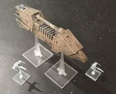 Here you have the Action VI transport, for anyone that wants the Wild Karrde around or a subsitute for the Rebel Transport:https://www.shapeways.com/model...
