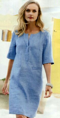 Платье – Linen Dresses For Women Simple Dresses, Casual Dresses, Denim Summer Dresses, Simple Tunic, Dress Outfits, Fashion Dresses, Trend Fashion, Fashion Fall, Fashion Brands