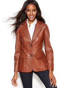 Jones New York Seamed Leather Blazer