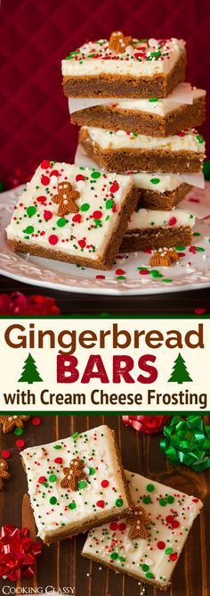 Gingerbread Bars with Cream Cheese Frosting - These are DREAMY! The perfect holi., Desserts, Gingerbread Bars with Cream Cheese Frosting - These are DREAMY! The perfect holiday treat! Holiday Cookies, Holiday Treats, Holiday Recipes, Holiday Bars, Christmas Recipes, Christmas Foods, Christmas Time, Christmas Squares, Christmas Food Treats