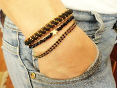Black bracelet set, star charm jewelry black accessories bracelet stack arm candy stack arm party set, set of bracelets, 2013 jewelry trends...