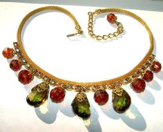 Here is a Gorgeous ... Vintage Juliana Yellow Green Amber Crystal AB Rhinestone Mesh Necklace. It's about 17 3/4 inches long including clasp and adju...  #aurora borealis #dangle #faceted #gold #green #orange #pendant