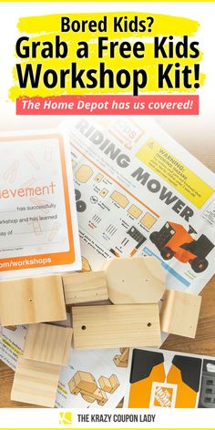 If you need DIY craft ideas for bored kids or looking for hands-on STEM DIY craft activities for kids that are free, we've got the scoop on a great monthly treat. Trying to help the kiddos shake off the boredom without looking at a screen? Home Depot kids DIY workshop kits are a good way to get your kid thinking creatively. And best of all? They're totally free. Here's everything you gotta know about Home Depot kids workshop kits. Follow The Krazy Coupon Lady to get more freebies, deals… Home Depot Kids Workshop, Diy Workshop, Home Crafts, Fun Crafts, Free Kids Meals, Huggies Pull Ups, Do It Yourself Organization, Bored Kids, Craft Projects
