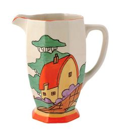 Clarice Cliff - Athens jug Vases, Antiques Roadshow, Clarice Cliff, Carlton Ware, Storybook Cottage, Red Roof, Vintage China, Antique China, China Art
