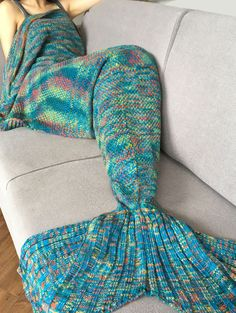 Knitted Super Soft Mermaid Tail Blanket