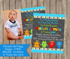 10% Off Sale Little Monster Birthay Invitation by PeriwinklePapery