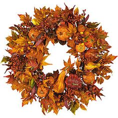 @Overstock - Bring a wealth of natural beauty and outdoor freshness to any home decor with a pumpkin harvest wreathHalloween decorative accessory features pumpkins, gourds, and berry sprigs of russet and goldWreath boasts leaves in every stage of changehttp://www.overstock.com/Home-Garden/Pumpkin-Harvest-Wreath/3437665/product.html?CID=214117 $70.99