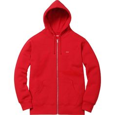 Red Supreme Small Box Thermal Zip Up Hoodie as seen on Justin Bieber