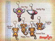 Cardcaptor Sakura hama bead sprites Star Key necklace by MangoCats