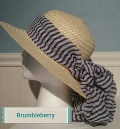 Sun hat with navy and white striped hat by BrumbleBerryBoutique