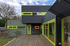 Painted corrugated steel + accent colors.
