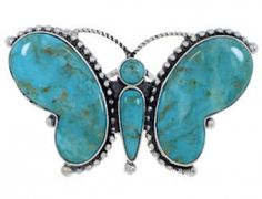 Large Statement Turquoise Silver Butterfly Ring Size 7-3/4 EX40979