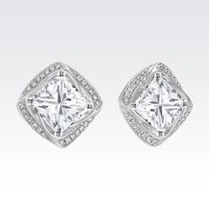 Square Round Diamond Earring Jackets (ShaneCo.com) (  T hese. Diamond  Solitaire EarringsDiamond EaringPrincess Cut ... fc3eb759ad0fc