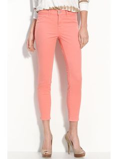 Mid-Rise Coral Skinnies
