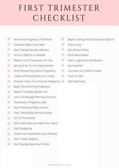 First Trimester Checklist: 30 Things To Do In The First 13 Weeks - Pregnancy - Pregnant Tips First Time Pregnancy, Pregnancy First Trimester, Trimesters Of Pregnancy, First Trimester Workout, Early Pregnancy, First Trimester Fatigue, First Trimester Tips, Prenatal Workout, Pregnancy Months