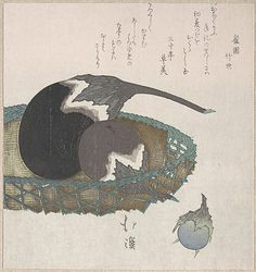 Eggplants in a Basket Totoya Hokkei (Japanese, 1780–1850) Period: Edo period (1615–1868) Date: 19th century Culture: Japan Medium: Part of an album of woodblock prints (surimono); ink and color on paper