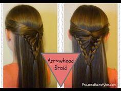 M Half Up Hairstyle, Arrowhead Braid Tutorial - YouTube