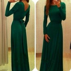 Long Sleeves Pure Color V-Back Backless Long Dress - MeetYoursFashion - 1