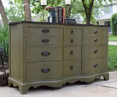 Painted End Tables, Painted Buffet, Chalk Paint Dresser, Chalk Paint Furniture, Chalk Painting, Green Furniture, Colorful Furniture, Refurbished Furniture, Furniture Makeover