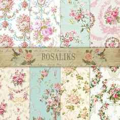 Juliet Digital Scrapbook Paper Pack Floral Shabby Chic Premade Pages Shabby chic paper Decoupage Paper Vintage Background Shabby Chic ROSE