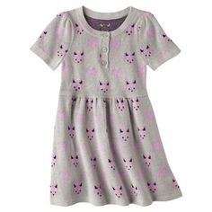 Infant Toddler Girls' Short-Sleeve Knit Fox Dress