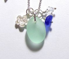 Kai Seaglass Flower Charm Necklace by GardenLeafSeaside on Etsy