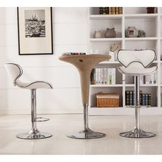 This beautiful bar stool chair is sure to be the envy of all your friends. The chrome metal base and footrest work in harmony with a hydraulic piston for smooth adjustments which is a little reminiscent of a carousel pony pole, while the supple feeling of leather like graces the seat and back for comfort. The contemporary faux leather covering for years of wear and easy care. It must be a fashionable statement for your bar or conversation table. This air lift adjustable bar stool with faux…