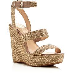 Vince Camuto Melisha Metallic Raffia Platform Wedge Sandals (€115) ❤ liked on Polyvore featuring shoes, sandals, boho sandals, metallic sandals, golden shoes, woven sandals and vince camuto shoes