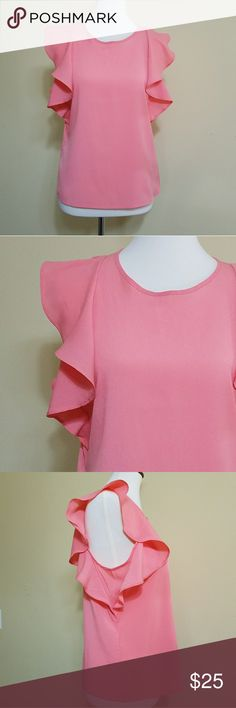 Banana Republic Flutter Sleeve Top size M Petite Cute Coral Flutter Sleeve Top by Banana Republic. Keyhole.detail on the back. size M Petite. Like New condition. Bust: 19 armpit to armpit Length: 23 inch 100% polyester. Banana Republic Tops