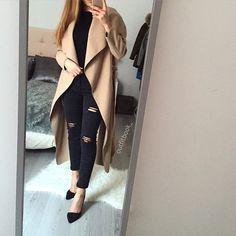 Manteau long back in stock Black x Camel ️www.outfitbook.fr