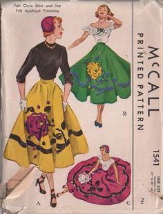 MOMSPatterns Vintage Sewing Patterns - McCall's 1541 Vintage 50's Sewing Pattern AMAZINGLY GORGEOUS Rockabilly Full Skirt Dance Party Skirt, Patio Skirt, Felt Floral Rose Applique & Trims, Over the Ears Cap, Hat