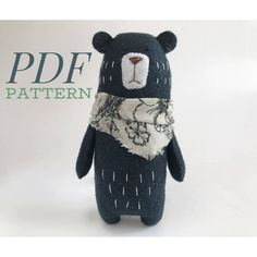 Free kawaii sewing patterns to make your own stuffed animals ~ dog, cat, fox and w .Free Kawaii Sewing Patterns to Make Your Own Stuffed Animals ~ Dog, Cat, Fox and W . Sewing Stuffed Animals, Stuffed Animal Patterns, Stuffed Animal Diy, Animal Sewing Patterns, Pattern Sewing, Softie Pattern, Teddy Bear Sewing Pattern, Bear Patterns, Doll Patterns