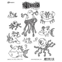 Dylusions stamps Rubber Under the Sea Cling Stamps, Multi-Colour: Amazon.co.uk: Kitchen & Home
