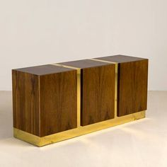 Milo Baughman; Zebra Wood and Brass Cabinet, 1970s.
