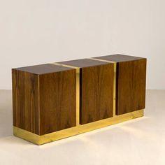 Milo Baughman; Zebra Wood and Brass Cabinet, 1970s.